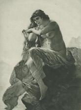 ANTIQUE ARTISTIC NUDE WOMAN SIREN HARP LORELEY LORELEI NAUTICAL OCEAN PRINT