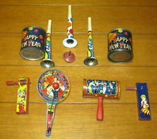 Vintage TIN Noisemakers Lot (9) W/ Paddle + Horns + Shakers + Bonus Spinning Top