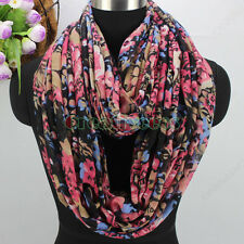 Women Fashion Leopard&Flowers Floral Print  Long Shawl/Infinity Loop Cowl Scarf