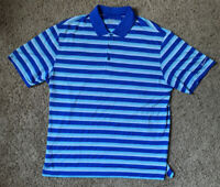 Nike Golf Polo Shirt Dri Fit Mens XL Standard Fit Blue White Striped NWOT