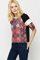 -% TOPSHOP Digital Floral Mono Stripe Sleeve Top  MUST HAVE UK 8 RRP £26