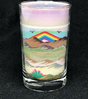 Vintage Rainbow Way Southwestern Sand Art Candle In Glass Made In USA - Pride