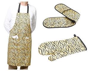Fun Tiger Print Bib Apron & Gauntlet or Double Oven Glove Novelty Baking BBQ Set