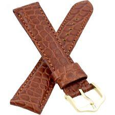 18mm Brown Genuine Alligator Leather HIRSCH REGENT Watch Strap Band