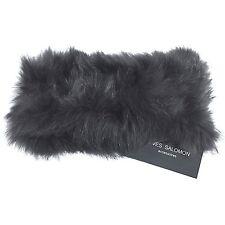 YVES SALOMON Womens Gray Rabbit Fur Stretch Headband Ear Muff Warmer