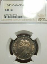 1943 Canada King George 25 Cents Silver NGC AU-58 UNC