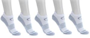 Copper Fit 5 Pair Sport Unisex Performance Socks, White, Size S/M