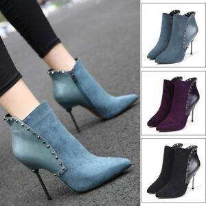 Womens High Heels Stilettos Pointed Toe Side Zipper Sexy Chic Ankle Stud Boots