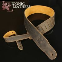 "Iconic 2.5"" Premium Leather Distressed Brown Guitar Bass Strap"