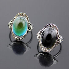 Mood Cocktail Silver Ring Changing Color Fashion Adjustable Temperature Control