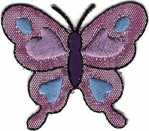"2 "" Brillant Rose Papillon Broderie Patch"