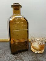 Whiskey Square Amber Glass Bottle, Brand New, Jackson Traditional Old Scotch