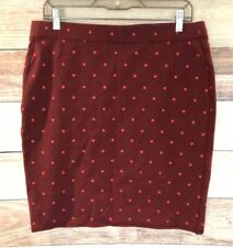 Old Navy Women's Red Polka Dotted Stretch Knee Length Skirt Size L NWT LBB76