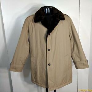 MISTY HARBOR Vtg RAINCOAT Rain Jacket Coat Mens Size 42 khaki w/ liner