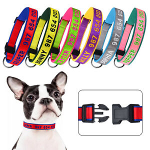 Adjustable Embroidered Dog Collar Personalized Customized Dog Name Boy Girl Blue