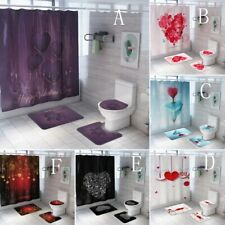 Lovers Valentine Day Bathroom Shower Curtain Bath Rugs Toilet Seat Cover Sets