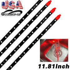 4X 30CM/15 LED Car Boat Truck Motor Waterproof DRL Strip Lights Flexible Red 12V
