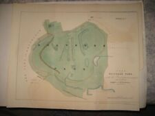 LARGE ANTIQUE 1846 HOLYROOD PARK EDINBURGH SCOTLAND HANDCOLORED DATED MAP FINE