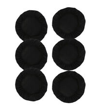 6Pcs Stretch Round Square Dining Chair Slipcover Polyester Seat Cover Black