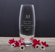 Personalised Glass Vase For 30th Pearl Wedding Anniversary Gifts Ideas Couple