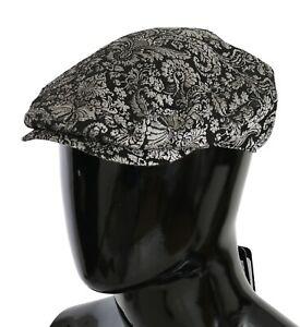 DOLCE & GABBANA Hat Black Silver Jacquard Men Newsboy Cap Men s. 57 / S RRP $300