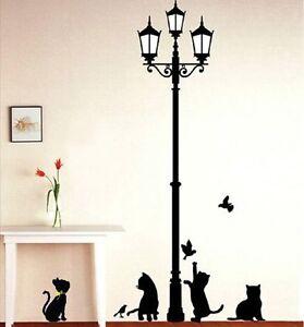 Stickers muraux chat sous les lampadaires motif Bricolage amovible 33 x 60 cm