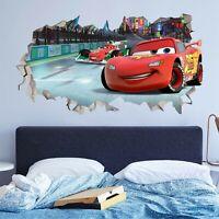 Cars 2 Lightning Mcqueen Disney Custom Wall Decals 3D Wall Stickers Art JO442