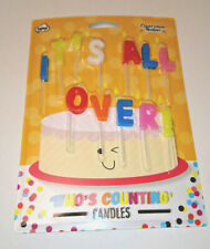 IT'S ALL OVER ! 12 COLOURED BIRTHDAY CAKE CANDLES SET Getting Old Joke NPW
