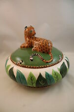 Tureen & Lid Jungle Jubilee Lynn Chase Animals Leopard Bowl Covered Serving Dish