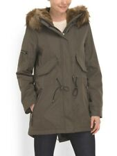S13 NYC Women's Waverly Parka with Fur Trimmed Hood, Military Green Medium M New