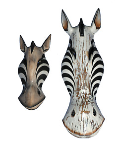 Zebra Mask Wooden Hand Carved Wall Art Fair Trade Animal Wall Hanging 3 Sizes