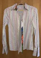 Milano Italy Shirt Long Sleeve Size 38 White  Striped Slim Fit Multi Print