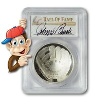2014-P Baseball HOF Silver $1 -- PCGS PR70 -- Hand Signed By Johnny Bench