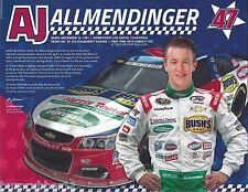 "2016 AJ ALLMENDINGER ""HARRIS TEETER BUSHS BEST"" #47 NASCAR SPRINT CUP POSTCARD"