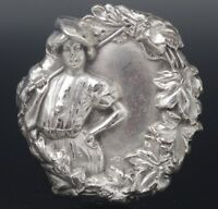 ANTIQUE STERLING SILVER REPOUSSE GIBSON GIRL GOLFER PIN BROOCH