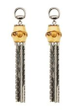 NIB Gucci Sterling Silver Bamboo Tassel Horsebit Logo Drop Statement Earrings