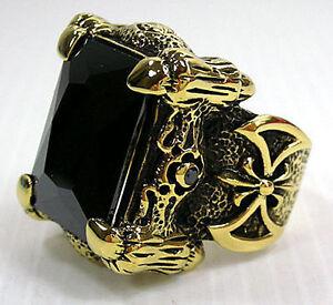 BLACK ONYX DRAGON CLAW AXE YELLOW GOLD BRASS RING GOTHIC BIG BIKER HEAVY HARLEY