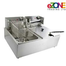 More details for ezone commercial electric twin deep fat fryer 2x 10l-2.8kw catering takeaway