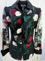 BNWT Black Floral FRANK LYMAN Top UK 10 Lace Ruffle Occasion Blouse Embroidery