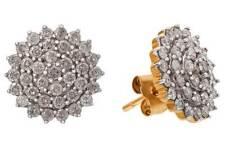 REVERE 9CT GOLD 1.00CT TW DIAMOND CLUSTER EARRINGS RRP £800