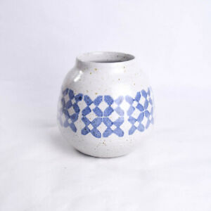 Pottery Barn Amadora Small Vase Blue White Speckled Glazed Terra Cotta Portugal