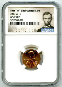 2019 W LINCOLN PENNY NGC MS69 RD UNCIRCULATED SHIELD FIRST 'W' MINT MARK ON CENT