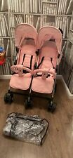 my babiie Twin Double Duo Pink Girls Stroller Buggy VGC Kids Push Chair Pram