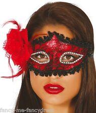 Donna Sexy Rosso Nero Pizzo Ballo In Maschera Carnevale Occhi Maschera Costume