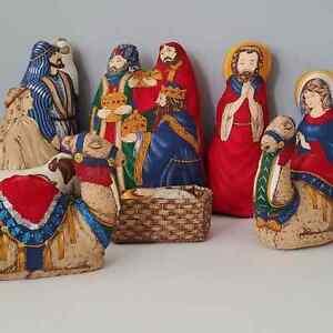 Vintage 8 Piece Handmade Plush Cloth Christmas Nativity Set Mary Joseph Wise Men