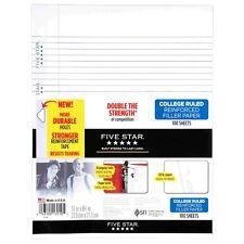 """Five Star Filler Paper, College Ruled, Reinforced, Loose Leaf Paper, 11 x 8.5"""","""