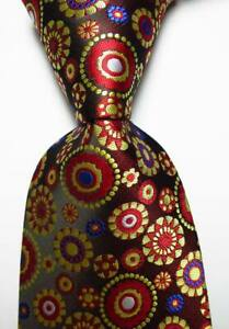 New Classic Polka Dot Red Gold White Blue JACQUARD WOVEN Silk Men's Tie Necktie