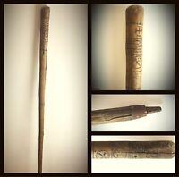 Ancienne canne bâton de marche compagnons Franc-maçonnerie XIXè gravé fer rouge