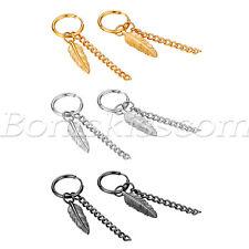 2pcs Men's Womens Stainless Steel Tassel Chain Feather Hoop Huggie Drop Earrings