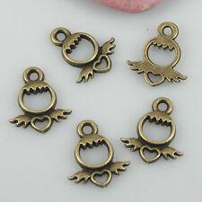 50pcs antiqued bronze color heart charms EF0555